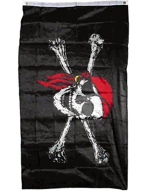Pirate FLAG Jolly Roger Skull & Crossbones with Red Hat - 2 feet x 3 feet (Plans For Building A Pirate Ship Playhouse)