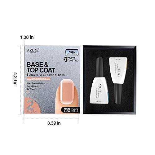 Base Coat No Wipe Top Coat Set for UV LED Gel Nail Polish LED Nail Lamp 0.4 Ounce Big Capacity by AZUREBEAUTY by AZUREBEAUTY (Image #5)