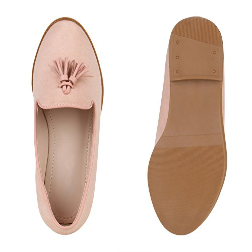Stiefelparadies Damen Schuhe Slippers Tassel Loafers Quasten Elegante Slip Ons Flandell Rosa