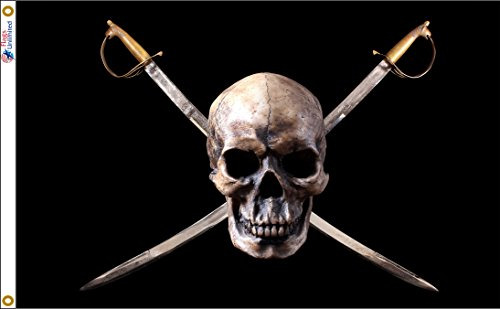 Pirate Skull & Swords Flag Jolly Roger 3 Feet x 5 Feet From Flags Unlimited