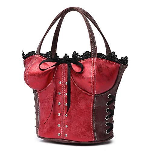 (Sexy Lace Trim Corset Shaped Crossbody bags with Bow (Red))