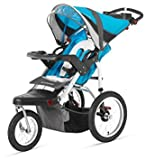 Premium Baby Stroller Jogger With Built-In MP3 Speaker And Adjustible Handlebar, Large Canopy and Storage Basket For Infants, Toddlers And Kids, Blue-Grey