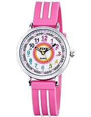 Zeiger Kinderuhr Mädchen Armbanduhr Quarz Analog Einfach-Lesen Lernuhr Rosa Mädchenuhr Geschenk Uhr KW110