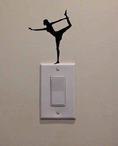 YINGKAI Yoga Dancer/Ballet Dancer/Gymnastics On Light Switch Decal Vinyl Wall Decal Sticker Art Living Room Carving Wall Decal Sticker for Kids Room Home Window Decoration