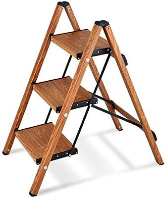 M-Y-S 2 en 1 taburete de 3 escalones, escaleras de tijera plegables Escalera de 3 escalones Soporte de flores de madera, con escalera antideslizante y de pedal ancho for fotografía, hogar: Amazon.es: