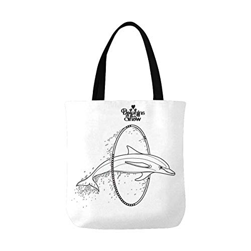 InterestPrint Lightweight Canvas Tote Bag for Beach, Shipping, Groceries, Books Dolphin Jumping Through a Hoop