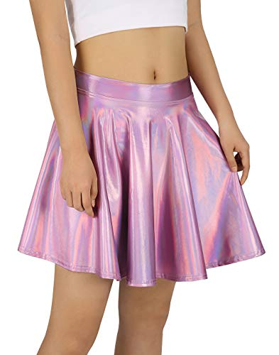 HDE Women's Shiny Liquid Metallic Holographic Pleated Flared Mini Skater Skirt (Pink, Medium) -