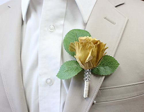 Angel-Isabella-Boutonniere-Nice-hand-crafted-rosebud-keepsake-artificial-flower-Pearl-headed-Pin-included-Metallic-Gold