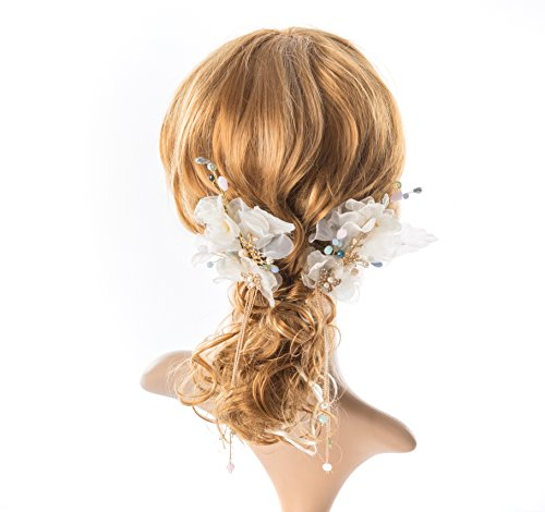 bridal hair pin set crystal pearl hair piece Wedding accessory for bride and bridesmaid - wedding - Champagne Bijoux
