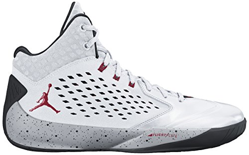 nike air jordan rising high mens hi top basketball trainers 768931 sneakers shoes, White/Gym Red/Wolf Grey/Black, 9 UK