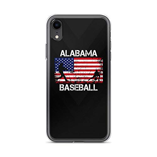 iPhone XR Pure Clear Case Cases Cover Alabama Baseball Team American Flag Independence Day Patriotic 4th of July ()