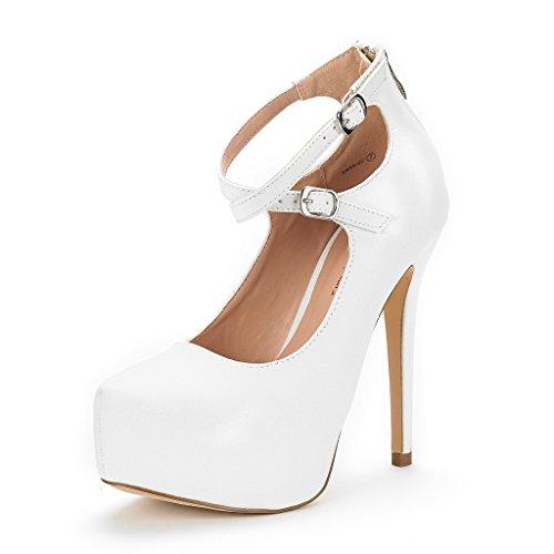 Dream Pairs Women's Swan-20 White Glitter High Heel Platform Pump Shoes - 8 M (Platform Pumps Shoes)