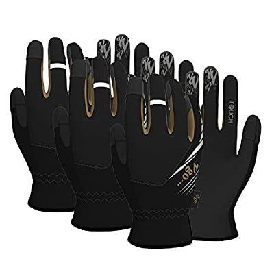 Vgo Glove High Dexterity Light Duty Mechanic Glove(3-Pairs)(Touchscreen,fast fit,anti-abrasion)