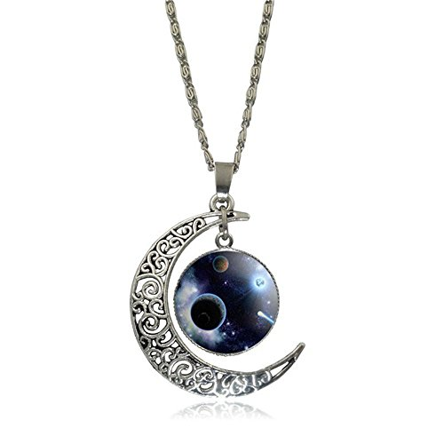 [Linsh Pendant Necklace Hollow Out Carved Moon Vast Universe Starry Sky Pendant Charm Chain Necklace Time Gems for Womens Girls(Style] (Good Costumes For Two Best Friends)