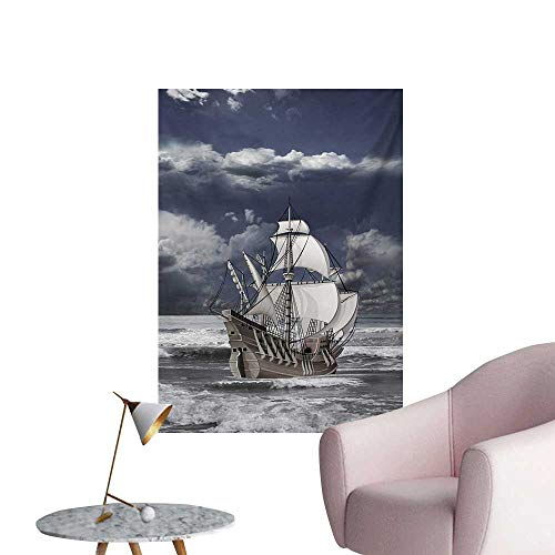 Anzhutwelve Landscape Wall Sticker Decals Cloudy Sky Caribbean Pirates Ship Oil Print Like Art ImageBlue Grey Pale Grey and White W32 xL48 Cool -