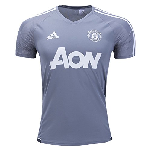 adidas Men's Manchester United Short Sleeve Training Jersey (Small) Grey