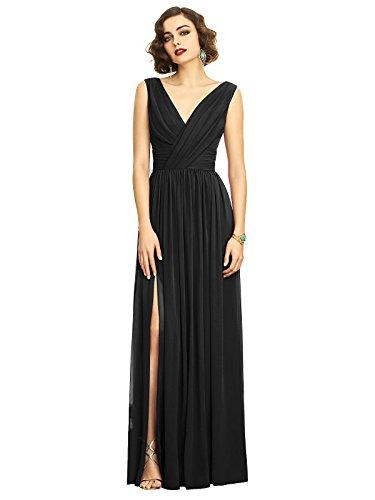 (Dessy Style 2894 Floor Length Chiffon Shirred Skirt Formal Dress - Sleeveless Draped V-Neck - Black - 10)