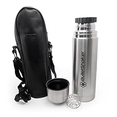 New and Improved BulletShaker 2.0 Best 25.36oz (750mL) Thermos to Keep Bulletproof Coffee HOT or Protein Shakes COLD..AND MIXED. (Mixer Ball Included!) by Alpha Design Products