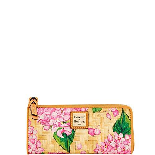 Dooney and Bourke Basket Weave Hydrangea Zip Clutch Wallet Pink