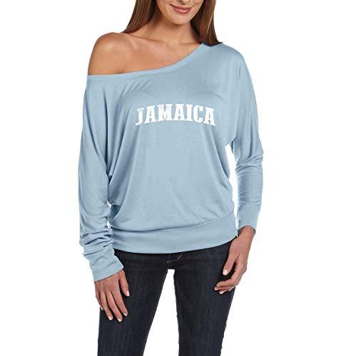 Jamaica Flag Kingston City Traveler`s Gift Women's Flowy Long Sleeve Off Shoulder Tee (XLBMR) Blue -