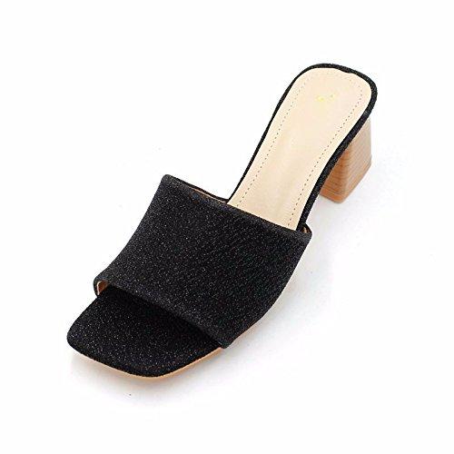 De Medio Cool Tela SFSYDDY Son De Y De La Mujer Oro black Talon De Zapatos Dedo Grueso Verano Y Tacon Fugas Cómodas Tipografía Seda Zapatillas qqAxwBPH
