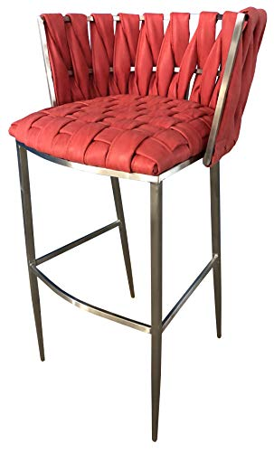Barstools 4U - Barcelona 26inch Ruby Stainless Steel Bar Stool