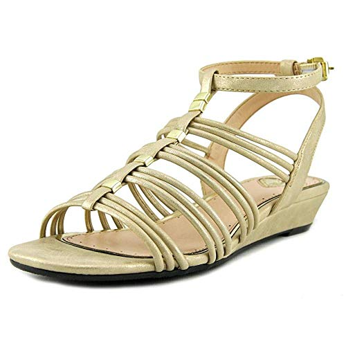 Madeline Womens Sound Open Toe Casual Ankle Strap Sandals, Gold, Size 9.0