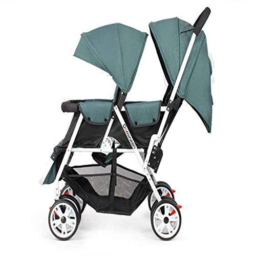 BABIFIS Twins Stroller with Removable Canopy, 1S Can Fold Baby Stroller, Portable Tandem Stroller with Mosquito Net A