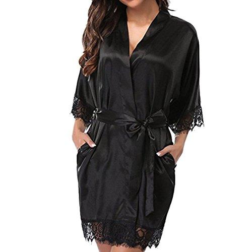 - XILALU Women Sexy Silk Kimono Dressing Gown Babydoll Lace Hem Lingerie Satin Solid Short Sleeve Bath Robe Plus Size (XL, Black)
