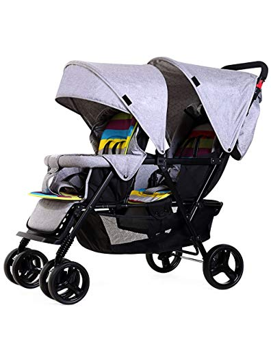 Double Stroller for Baby and Toddler-Tandem Duo Connect Strollers (Color : Gray)