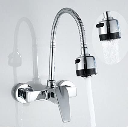Buy Generic Solid Brass Chrome Wall Mounted Kitchen Tap Dual Hole ...