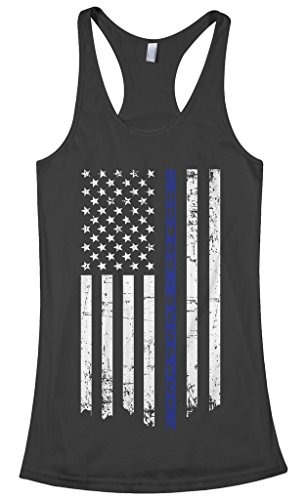 (Threadrock Women's Honor & Respect Thin Blue Line Flag Racerback Tank Top S Black)
