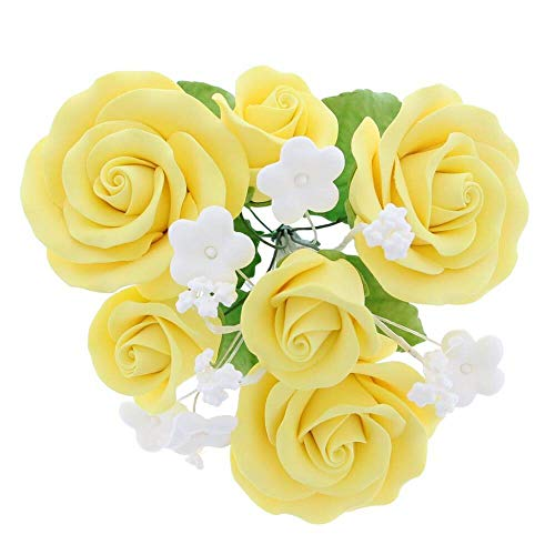 Global Sugar Art Garden Rose Sugar Flowers Topper Bouquet, Yellow, 1 Count by Chef Alan Tetreault ()