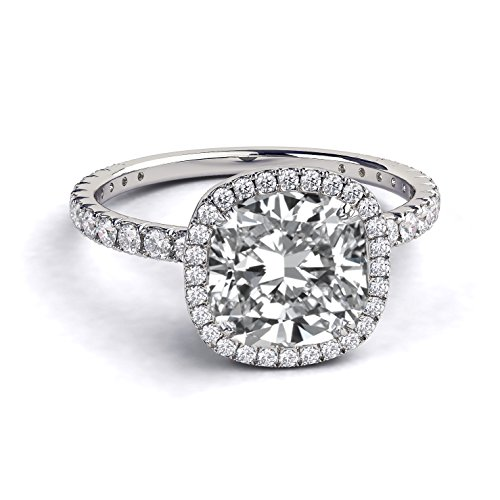 7.50MM D-F VS Moissanite Engagement Ring With Diamonds (1 ...