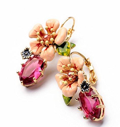 Dot & Line enamel pink flower purple rhinestone lever back statement earrings Pink Enamel Flower Earrings