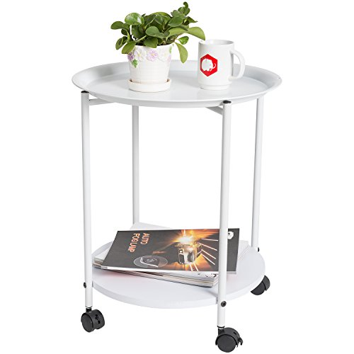 HollyHOME Metal Tray End Table Living Room,Slide Under Sofa Side Table,Round Coffee Table,Accent Side Table with Rolling,Hall Table for Bathroom,Can Used As Utility Cart for Home Storage,White (Table Metal Tray)
