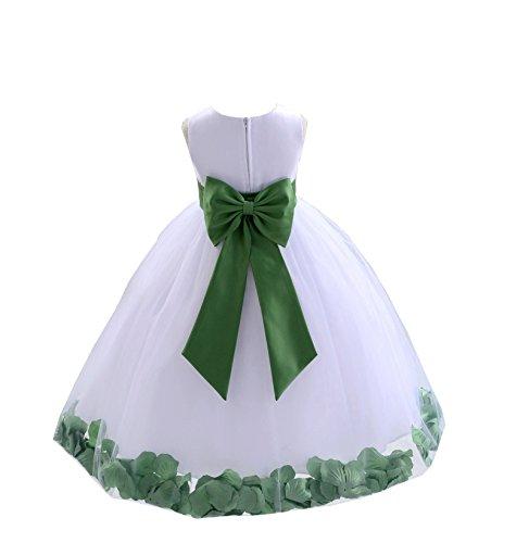 ekidsbridal White Tulle Rose Petals Flower Girl Dress Tulle Dress Christening Dress 302T 8 (Gowns Christening Designer)