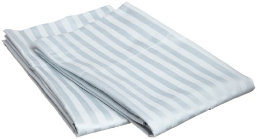 100% Egyptian Cotton 650 Thread Count King 2-Piece Pillowcase Set, Single Ply, Stripe, Light Blue (Egyptian Cotton 650 Thread)