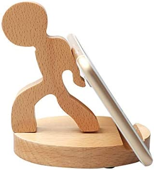 MHKBD Deer Cute Phone Stand Wooden Cellphone Holder with Anti-Slip Base Phone Cradle Fits All Smart Phones Desk Decoration Cell Phone Desk Stand Holder