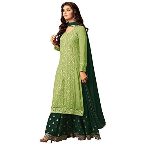 ziya Indian/Pakistani Ethnic wear Georgette Plaazo Salwar Kameez (Light Green, 2X-52)