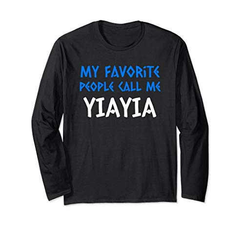 Greek Letter Font Greek Grandma Yiayia Gift  Long Sleeve T-Shirt