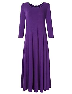 VeryAnn Women's 3/4 Sleeve Midi Dress Flare Casual Dress with Pocket