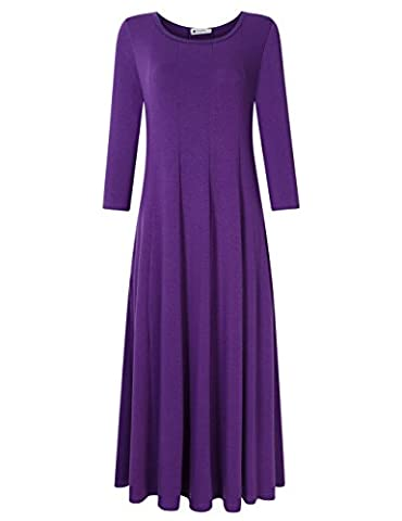 Women's 3/4 Sleeve Swing Long Dress Flared Midi Dress with Pocket Purple XL (Midi Cotton Dress)