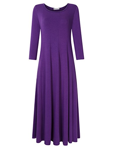 Women's 3/4 Sleeves Pleated Fit Flare Long Dress Flared Midi Dress Purple XXL (Ladies 3/4 Length Leather)