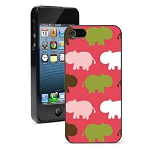 For iPhone 5 5S Hard Case Cover Pink Green White Hippos