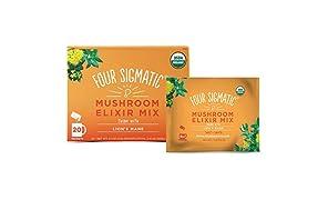 Four Sigmatic Lion's Mane Mushroom Elixir - USDA Organic Lions Mane Mushroom Powder - Memory, Focus, Creativity - Vegan, Paleo - 20 Count, Think w/ Lion's Mane