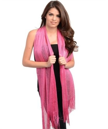 Hot Pink/ Fuchsia Metallic Sequin Style Shawl Pink Purple Wedding Party Evening Scarf Wrap