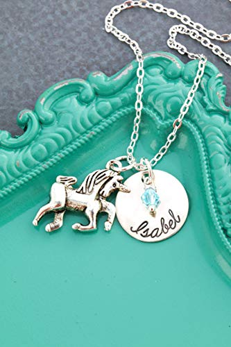 Personalized Unicorn Necklace - Custom Birthstone Handstamped Name - Little Girls Gift Fantasy - 5/8 Inch 15MM Disc - DII AAA