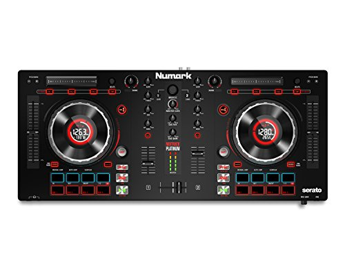 Numark Mixtrack Platinum | DJ Controller With LCD Displays, 4 Decks, Metal Touch-Capacitive 5″ Jog Wheels, Multifunction Touch Strip & 24-bit Audio I/O + Serato DJ Intro Included