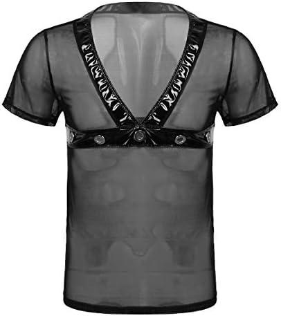 メンズ シースルーTシャツ タンクトップ メンズ インナーシャツ ベスト薄手 無地 メッシュマッチョ ボディフィット 吸汗 通気 柔らか 快適 おしゃれ